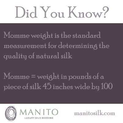 Did You Know? Momme weight is the standard measurement for determining the quality of natural silk. Momme = weight in pounds of a piece of silk 45 inches wide by 100.