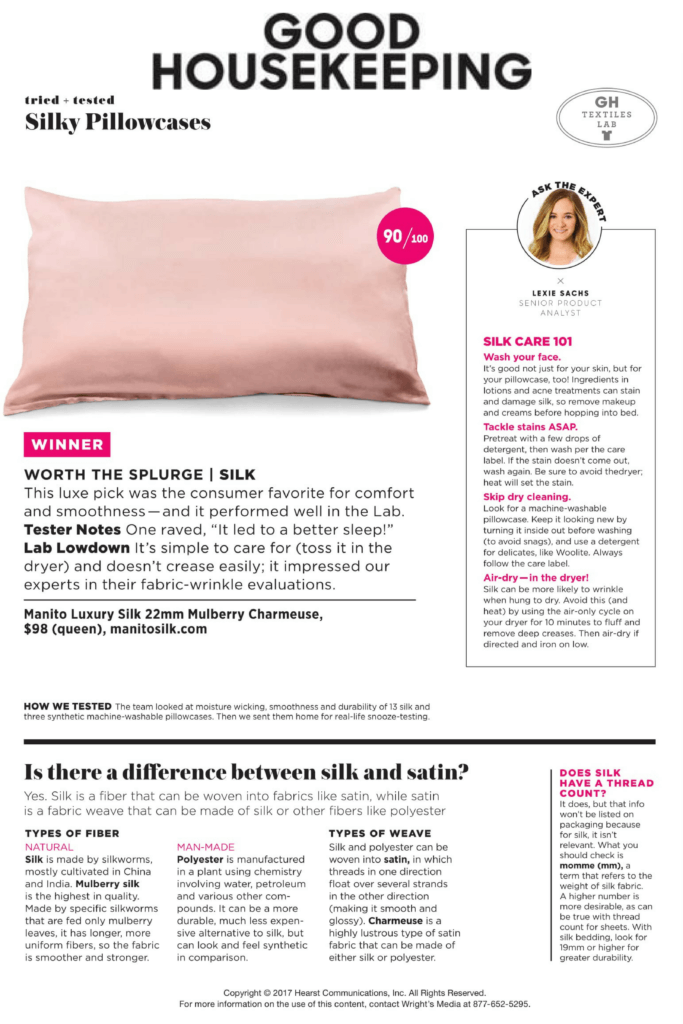 b6d25a9ca3cd Good Housekeeping Names Manito Silk Pillowcases their  1 Pick for Comfort  and Smoothness